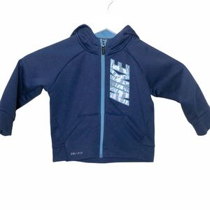 Nike Kids Fleece lined Dri fit zip front hoodie